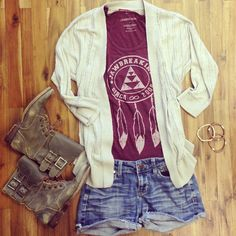 Shirt cardigan and boots