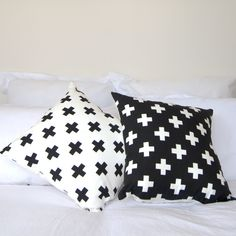 Swiss Cross Cushion Cover | White with Black #cross #cushion #decorate #monochrome #swiss #swiss-cross