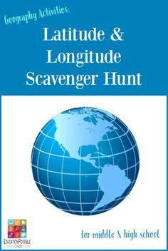 Geography Activities: Latitude and Longitude Scavenger Hunt [free printable]  Want a fun way to review latitude and longitude with your kids? Use our FREE scavenger hunt. They'll build map skills with this hands-on geography lesson, showing them how to find countries by using their coordinates. Perfect for middle school and high school students.