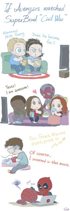 If Avengers watched Super Bowl 'Civil War' by SilasSamle》》 can we appreciate Bucky's headband??♡