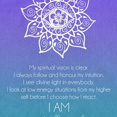 My spiritual vision is clear. I always follow and honour my intuition...