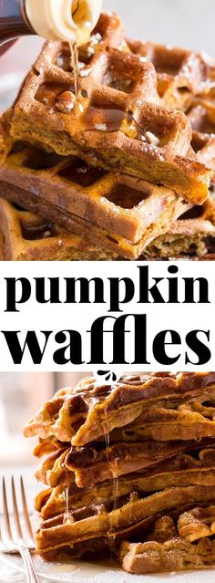 Looking for easy fall breakfast ideas? These simple homemade pumpkin waffles definitely need to happen in your waffle maker this autumn! The recipe makes a quick batter from scratch with an entire cup (Favorite Desserts Mom)