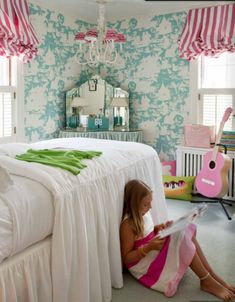 Girls bedroom - turquoise China Seas wallpaper and pink stripe curtains