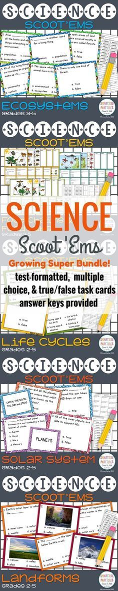 Ecosystems, Food Chains & Food Webs, Life Cycles, Landforms, and Solar System Task Cards. This is a GROWING bundle!!