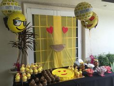 Emoji party ideas: Publix cookie cake and cup cakes, Party City cupcake eyes, Amazon balloons and cupcake toppers.