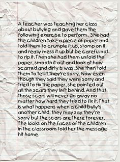 Bullying is a serious. More parents and teachers need to talk to their kids about bullying and what it does to other people.