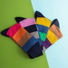 Vibrantly colour stripe socks by 40 Colori