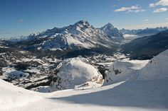 Skiing the Forcella Rossa slopes of Cortina d'Ampezzo.