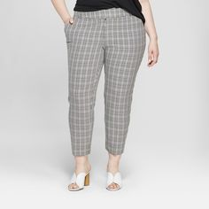 7c53542fd095b Women s Plus Size Comfort Waistband Houndstooth Ankle Pants - Ava   Viv™  Berry   Target