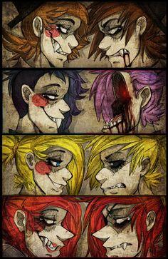 Freddy vs. Toy Freddy. Bonnie vs. Toy Bonnie. Chica vs. Toy Chica. Foxy vs. Toy Foxy/ Mangle. LET DA GAMS BEGIN PPL!