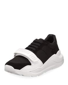 bb0e2fd56931c Burberry Regis Neoprene Low-Top Sneakers with Exaggerated Sole Chunky  Heels
