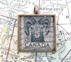 Vintage Canada Canadian Postage Stamp Necklace Pendant by 12be, $14.50