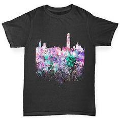 Hong Kong Skyline Ink Splats Boy's T-Shirt
