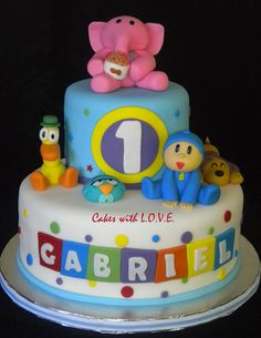 Pocoyo and friends cake :) all edible with fondant figurines !
