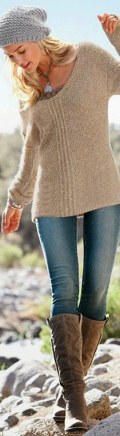 Long Boots With Crochet Sweater