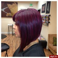 Purple hair might not be for everyone, but it's an excellent color idea for those with bold personalities. When used as hair dye, purple can vary from silvery lavender all the way to deep. Plum Hair, Burgundy Hair, Purple Hair, Purple Bob, Purple Pixie, Burgundy Color, Love Hair, Great Hair, Gorgeous Hair