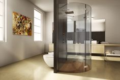 Bagno Con Doccia Al Centro : Box doccia battente linea curva con vetro curvato su misura doccia