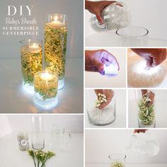 Step 1: Fill your glass cylinder vases with about 2 inches of vase filler. We used clear glass vase filler for this centerpiece.Step 2: Turn your submersible LE