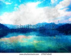 mountain view, landscape oil and watercolor painting, mixed techniques hand drawing, beautiful nature image, modern painting style, sky  clouds and mountains and water reflection impressionism