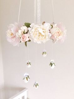 Vintage pastel pink, cream and white rose flower mobile, pink floral nursery mobile, baby girl pink floral chandelier, pink crib mobile Girl Nursery, Girl Room, Nursery Ideas, White Rose Flower, Pink Crib, Flower Mobile, Home Decoracion, Floral Chandelier, Nursery Chandelier
