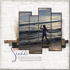 Beach Scrapbook layout - love using one photo and cutting it into strips - I MUST do this - and soon!!