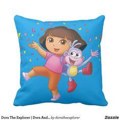 Dora The Explorer | Dora And Boots Celebrate. Producto disponible en tienda Zazzle. Decoración para el hogar. Product available in Zazzle store. Home decoration. Regalos, Gifts. #cojín #pillows