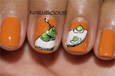 "Nail art inspired by Dr. Seuss' ""Green Eggs & Ham"""