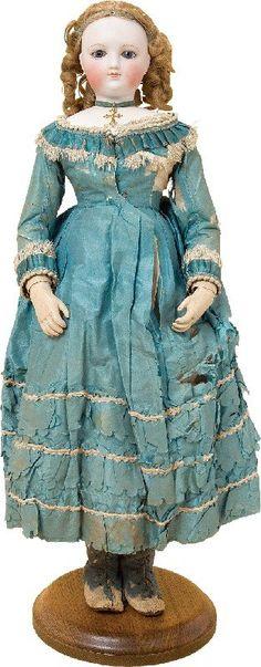 """Fashion Doll, 18"""",46cm, bisque head, gray glass eyes, closed mouth, wooden body. #dollshopsunited #fashiondoll"""