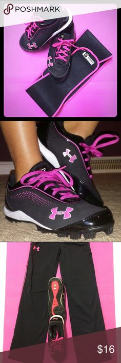 ⚽️Under Armour Y/Girls Soccer/Baseball Cleats.⚾️️ UA Youth/Girls Pink on black, soccer ⚽️ or baseball ⚾️ cleats. The first pic looks exactly like these shoes. My iPhone pics have A glare.  These look new! EUC Sz 5Y-US/4-5UK. I wear a Sz 7-7.5 in women's & I can wear these. A little snug though. MSRP is $24.99 (Matching yoga pants listed in my closet Sz 10-11 YP) (YOGA pants  already SOLD) Under Armour Shoes Sneakers