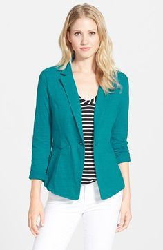 Caslon® Knit One-Button Blazer (Regular & Petite) available at #Nordstrom