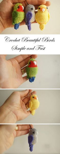 Crochet Amigurumi Ideas Cute Birds Crochet Tutorial and Pattern Crochet Birds, Cute Crochet, Crochet Animals, Crochet Crafts, Crochet Dolls, Yarn Crafts, Crochet Flowers, Knit Crochet, Crochet Baby