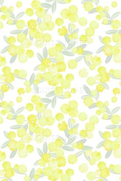 Dots pattern Fluffy wattle blossoms painting created with a dot technique. Motifs are watercolour illustrations that have been digitally repeated. Available in two colourways, Wattle/White and Wattle/Cirrus Dots pattern is part of A Side Project...