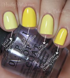 """OPI Brazil Collection Comparisons -- Pointer to pinkie; 3 coats of each: NCLA """"Tennis Anyone?"""", OPI """"I Just Can't Cope-acabana"""", Orly """"Lemonade"""" & Butter London """"Cheeky Chops"""". """"I Just Can't Cope-acabana"""" and """"Cheeky Chops"""" are the closest here but not quite dupes. """"Cheeky Chops"""" is just a shade lighter. """"Tennis Anyone?"""" and """"Lemonade"""" are obviously more pale."""