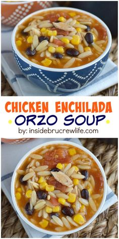 This easy chicken enchilada soup can be on your table in under 20 minutes. Perfect for busy nights or game day parties! Gourmet Recipes, Mexican Food Recipes, Soup Recipes, Cooking Recipes, Easy Recipes, Chicken Recipes, Dinner Recipes, Healthy Recipes, Chicken Enchilada Soup