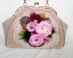 Check out Bohemain bag purse Shabby Chic Cross Body Tote Bag, inspiration Baroque era,antique textile art aplique roses on shabbyromanticart