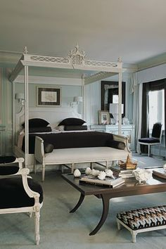 "Mary McDonald, chinoiserie chippendale bed ||||| I like Mary, but this style, with ""everything-painted-white"" just isn't my thing."