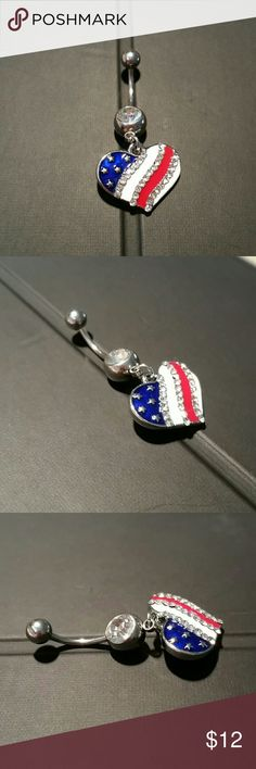 "NEW USA Flag Heart Dangle Charm Navel Curve Ring New unused, patriotic clear CZ crystal rhinestone on the bottom & heart shaped red, white, & blue American flag with CZ crystal stripes dangle charm, standard 14g, 7/16"" surgical grade stainless steel curved barbell / banana for navel (belly button) piercings. Shown in last pic with a dime for size reference. Perfect for the 4th of July & Independence Day beach parties!  Lots more NEW body jewelry in my closet!  Thank you for visiting, and…"