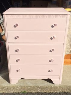 Painted in Autentico Chalk Paint Rose and finished with a clear wax with new handles