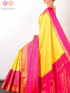 b5e869682db053 Yellow-Pink Silk Pochampally Handwoven Saree