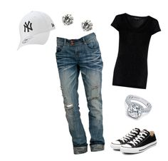 """Baseball outfit"" by terin-solano ❤ liked on Polyvore featuring Crafted, Converse and New Era"