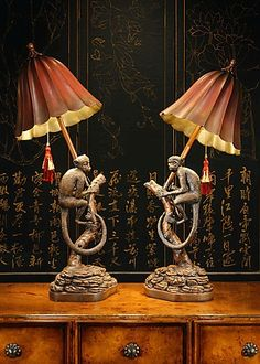 This amazing photo is the most inspiring and spectacular idea West Indies Decor, Monkey Decorations, Brass Lamp, Pendant Lamps, Pendant Lights, Animal Lamp, British Colonial Decor, Art Deco Lamps, Antique Lamps