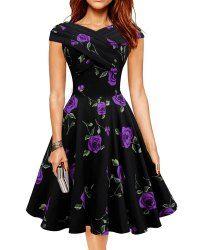 Retro Style Women's V-Neck Rose Print Short Sleeve Ball Dress (PURPLE,L) | Sammydress.com Mobile