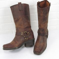 Women's Distressed Brown Leather Harness Boots size 8.5  #MossimoSupplyCo…
