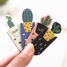 Three Kawaii Cacti Magnetic Bookmarks for Books – Kuru Store – School Calendar İdeas. Bookmarks For Books, Creative Bookmarks, Cute Bookmarks, Bookmark Craft, Magnetic Bookmarks, Magnets, Bookmark Ideas, Corner Bookmarks, Paperclip Bookmarks