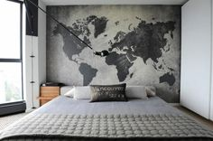 Dekoideen Schlafzimmer Wandgestaltung Landkarte