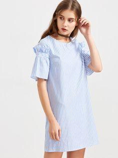Синее модное платье в полоску