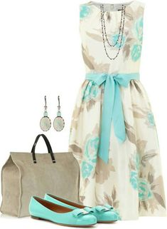 Earrings and dress and belt and flats