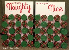 Naughty or Nice Christmas Game is part of Holiday crafts Party - Naughty or Nice Christmas Game is perfect for a large group and everyone will be laughing Start your Christmas tradition! A simple DIY craft tutorial idea Xmas Games, Christmas Games For Family, Holiday Games, Holiday Fun, Christmas Holidays, Christmas Crafts, Office Christmas Party Games, Christmas Drinking Games, Christmas Party Ideas For Adults