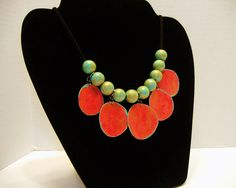 Orange Red Teal  Necklace – First anniversary gift – Colorful jewelry -Bold statement jewelry – Paper bead jewelry by LeeOwenbyJewelry on Etsy