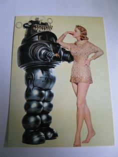 Forbidden Planet  Robby Robot Anne Francis  Pin Up VTG Postcard